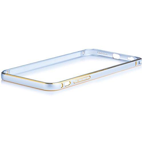 iCues Apple iPhone 6S / 6 |  Alu Bumper Bicolor Rot | [Display Schutzfolie Inklusive] CNC Aluminium Metall Metallic Rahmen Case Hülle Schutzhülle Alubumper Bicolor Gold / Silver