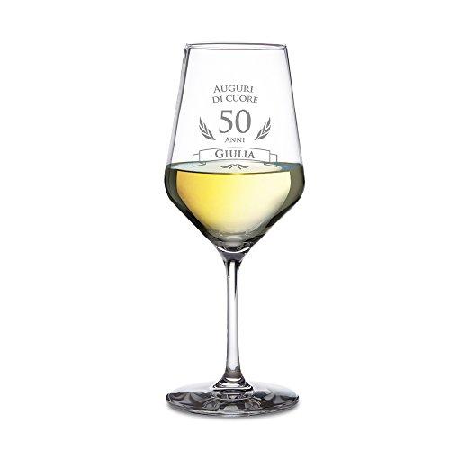 AMAVEL - Calice da Vino Bianco con Incisione per Il Compleanno - Auguri di Cuore - 50 Anni - Personalizzato con [Nome] - Regali Originali per Lui e Lei - Bicchiere in Vetro Chiaro