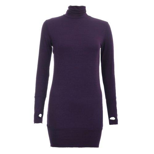 Femme pull long avec un/pulloverkleid, avec ouvertures pour les pouces-col roulé bas Violet - Violett - Violett