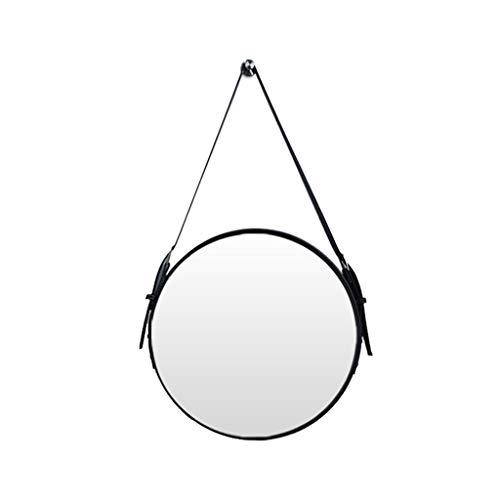 Espejo Colgante Cinturón de Cuero Baño Ajustable Espejo Redondo montado en la Pared Nordic Decoración...