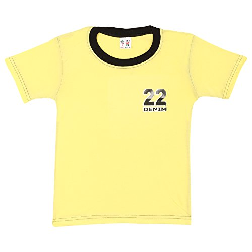 S.R.KIDS Cotton Baby Boys Rib Neck Yellow Tshirt  available at amazon for Rs.98