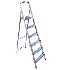 Paras Corporation 6 Step Foldable Aluminium Ladder for Home Use (Silver)