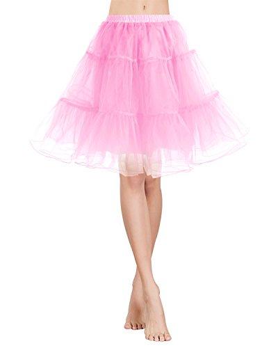 Gardenwed Tutu Damenrock Tüllrock 50S Retro Rockabilly kurz Petticoat Ballet Tanzkleid Unterkleid für Cosplay Crinoline Party Pink L