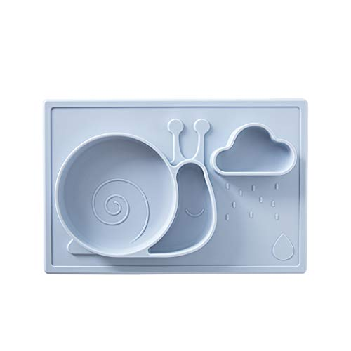 Love lamp Assiette Creuse pour Bébé Assiette en Silicone Intégrée Vaisselle Incassable pour Enfants (Color : Blue)
