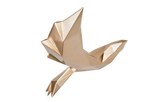 Kunstloft Extravagante Escultura Golden Wings' 47x28x44cm | Moderna Figura de Piedra Artificial | Moderno Pájaro Decoración Dorado | Estatua única