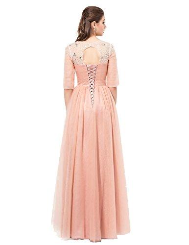 Dresstells Robe de cérémonie Robe de demoiselle d'honneur longue en mousseline emperlée avec manches Corail