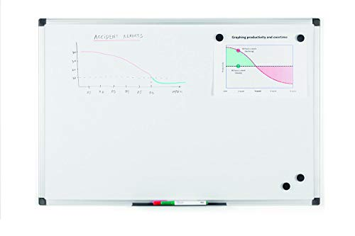 Bi-Office Maya - Pizarra blanca magnética con marco de aluminio, 900 x 600 mm