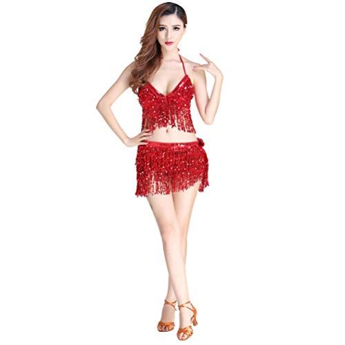 JEELINBORE 2pcs Tanzkostüm Bauchtanz Kostüm Neckholder Oberteile Quaste Pailletten Hüfttuch Gürtel Wickelrock - 2pcs Set #Rot, Freie (Bauchtanz Kleider Kostüm)