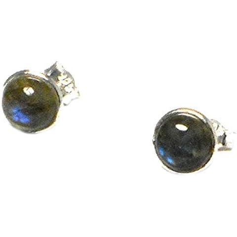 LABRADORITE, 8 mm, rotondi, argento Sterling 925 e orecchini a lobo, in confezione regalo