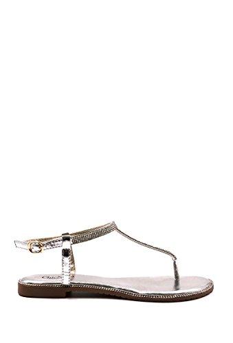 CHIC NANA . Chaussure Femme Mode Sandale plate, avec chaine incrustée de strass. Argent
