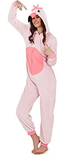 - 31eEogP10gL - Loungeable, Ladies Luxury Fleece Animal Onesie, Freya The Flamingo, X-Large (UK 20-22)