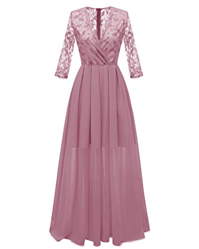 YXB Damendress Lace Robe V-Neck Chiffon Sexy Backless Dress, Wedding Party Evening Canonicals Blue Pink Red,Pink,XXL -