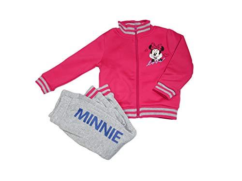 Disney Tuta da Ginnastica Bambina Minnie, Felpa Senza Cappuccio con Zip e Colletto Alto -...