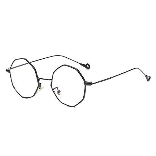 Sonnenbrillen Mode Multilaterale Linie Persönlichkeit Metallglasrahmen Setzen Sie in Blaulicht Männer und Frauen Typ Rahmengläser Verhindern Blaulicht LUE Shading-Gläser für Studenten/Büroangestellt