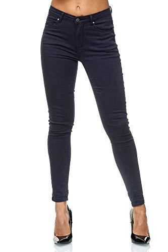 Elara Damen High Waist Hose | Skinny Fit | Slim Fit | Chunkyrayan J736-18 Dk.blue-34 Dk Taschen
