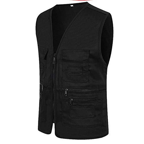 UJUNAOR Männer Ärmellose Cargo Jacke Multi-Pocket-Jackenmantel für Herren(Schwarz,CN 2XL) -