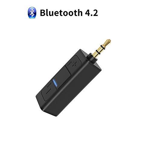 YOMRIC Bluetooth-Zusatzadapter für Auto, Bluetooth 4.2 Zusatzadapter, Bluetooth-Empfänger mit Klipp für Kopfhörer, drahtloser Bluetooth-Verbindungsstück-Konverter für Kopfhörer-AusgangsStereo.