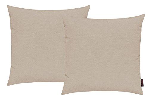 Fino Kissenhülle ca. 50 x 50 cm hochwertig & knitterarm Farbe 71 Beige (2er Set)