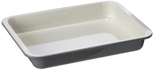 Zenker Grill- und Ofenform Emaille (40 x 5,5 x 29 cm) SPECIAL COOKING, rechteckige Backform mit Emaille-Versiegelung, Bräterform für krosse Braten & saftige Aufläufe (Farbe: Creme/Grau), Menge: 1 Stück - Versiegelung Creme