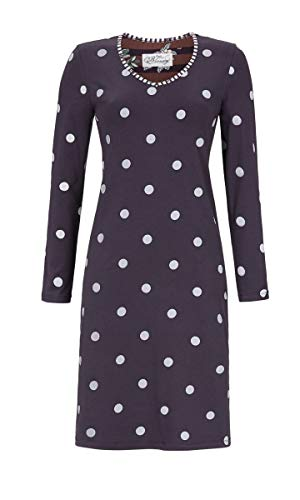 Ringella Bloomy Damen Nachthemd mit Polkadots Dark Shadow 42 9551002, Dark Shadow, 42