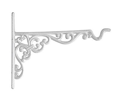 zeitzone Wandhaken für Blumentopf Blumenampel Gusseisen Landhausstil Vintage Weiß 19,5cm von zeitzone - Du und dein Garten