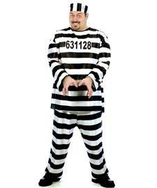 Sträflings-Kostüm Gefangener für Herren Plus Size schwarz-Weiss XXL