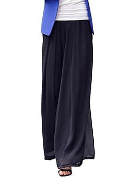 LaoZan Mujer Pantalones Sueltos Pantalón Ancho Culottes Gasa Deportivos Fitness Cintura Elástica Negro M