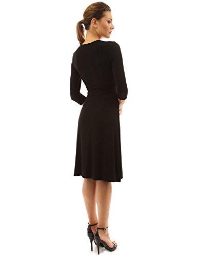 PattyBoutik Damen V-Ausschnitt Wickelkleid mit breitem Bindeband an der Seite und 3/4 Ärmeln Schwarz