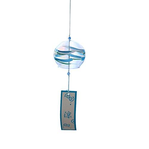 Gazechimp Japanischer Stil Glas Windspiel Windglocke Klangspiel Garten Haus Dekor Geschenke - Blau
