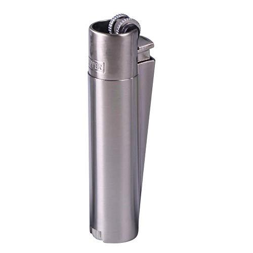 Clipper Metall Gas-Feuerzeug (Silber matt) mit SOFORTGRAVUR +VORSCHAU: Gravur auf Einer Seite (Gasfeuerzeug nachfüllbar)