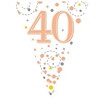 FANCYDRESSCOZ 9ft Bunting Banner Pennant Flag Sparkling Fizz 40th Birthday White and Rose Gold Holographic