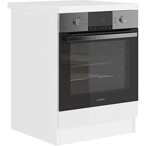Unbekannt Ultra Ofenschrank mit Arbeitsplatte L 60 cm – weiß glänzend und Dekor weiß laminiert