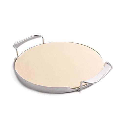 Onlyfire Pierre à Pizza φ33,52cm avec Support de poignée pour Four à Pizza, Barbecue au gaz, Barbecue, Barbecue, Kamado, Convient au Weber Gourmet BBQ System