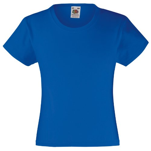 Fruit of the Loom Mädchen T-Shirt, kurzarm 5-6 Jahre,Königsblau