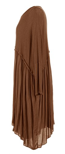TEXTURE Ladies Womens Italian Lagenlook Quirky Batwing Long Sleeve Plain Knit Viscose Swing Flare Flowy Tunic Dress Top Oversized Curve One Size Plus UK 16-22 (One Size Plus, Brown)