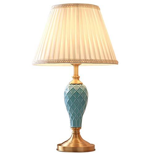 Lampe de bureau Céramique Américaine Creative Design Lampes De Table Salon Décor Tissu Ombre Chambre Lampe De Chevet