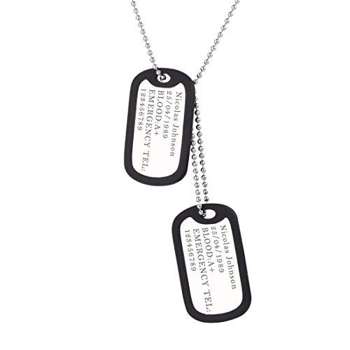 U7 Collar Personalizado Placa de Militar Hombre Acero Inoxidable, Collar Médico Colgante Collar Dog Tag de Identificación con Cadena Fina de Bolas 60cm (Tipo 01 Placa Clásica Plateado, Personalizable)