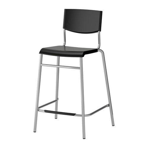 IKEA STIG Barhocker in schwarz; stapelbar; (63cm)