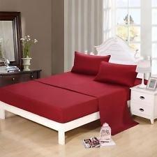 Ultra soft- elegante, cómodo satén 100% sábana de algodón egipcio 4piezas Juego de sábanas para colchón de hasta (35-cm) by-british elección lino, 100% algodón, Burgundy Solid, matrimonio grande