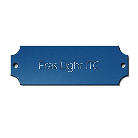 door plate, sign for letterbox/door bell, name plate, made of blue plastic with your own text, 125 x 45 mm, angular, Font Eras Light
