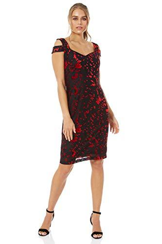 Roman Originals Femme Robe Epaules Dénudées Effet Dévoré - Automne Hiver Reveillon Noel Nouvel an Soirée Bicolore Simple Confortable - Rouge - Taille 44