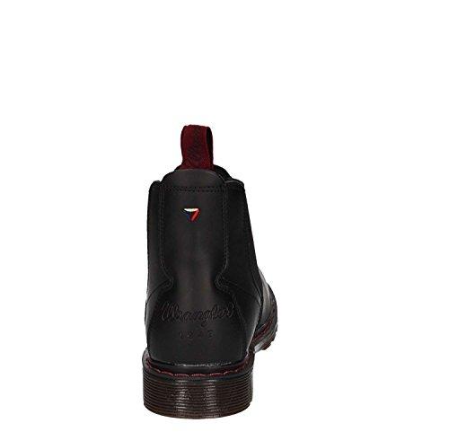 Wrangler Scarponcini Rocky Chelsea in Pelle Nera con Dettagli Bordeaux Black