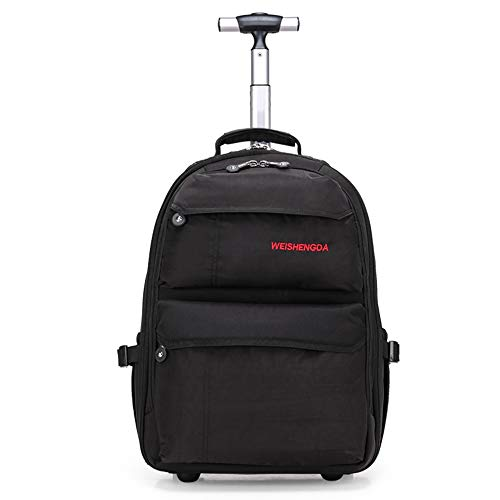 21-Zoll-Trolley-Rucksack Wasserdichter Rollrucksack auf Rädern für Männer und Frauen Business Laptop Travel Backpack Bag,Black