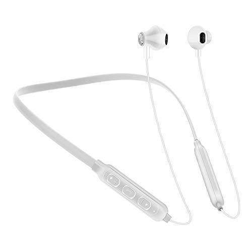 LQIAN G02 Kabellosen Bluetooth Kopfhörer Kompatibel mit In-Ear-Kopfhörer mit Mikrofon Portable HiFi Blueteeth V4.2, 6 Stunden Spielzeit und Mikrofon Schwarz Rot Weiß (Weiß)