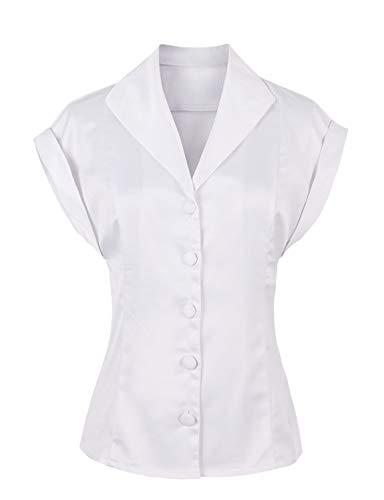 Caissen Damen Basic Kurzarm Lapel Crop Tops Schaltfläche Festes beiläufiges Baumwollhemd Weiß Größe ()