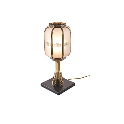 Neue Schatten (HJHY® Retro Tischlampe, alle Bronze Glas Schatten Neue chinesische Stil Schlafzimmer Nachttisch Lampe Wohnzimmer Moderne Einfachheit Studie E27 * 1 Power Switch-Taste Kupfer Farbe Kreativ, einfach)
