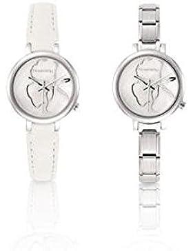 Uhr PARIS klein? mit Uhrenarmband aus Leder oder Edelstahl (013_Weiss)