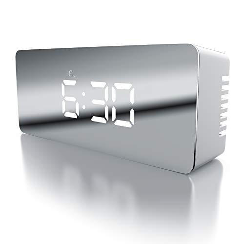 ital inkl. Temperaturanzeige | Reisewecker Alarmwecker | Innen-Temperaturanzeige | Schlummerfunktion | 12-/24-h-Format | Nachtmodus | 2X Helligkeitsstufen | weiß ()