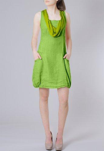 CASPAR Damen elegantes leichtes Sommerkleid aus Leinen mit Seidenkragen - viele Farben - SKL002 Grün