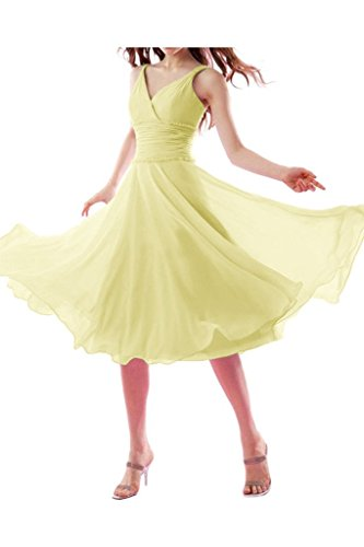 La_mia Braut Einfach Elegant Chiffon Traegerkleider V-ausschnitt  Abendkleider Brautjungfernkleider Promkleider Wadenlang Kurz Hell Gelb